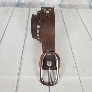 Vintage Studded Leather Belt Chocolate Brown XL